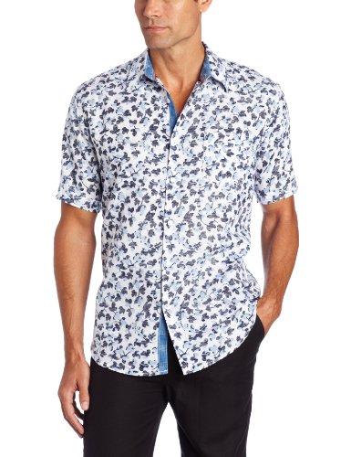 Cubavera Men's Reverse Print Linen Cotton Shirt, Blue, X-Large