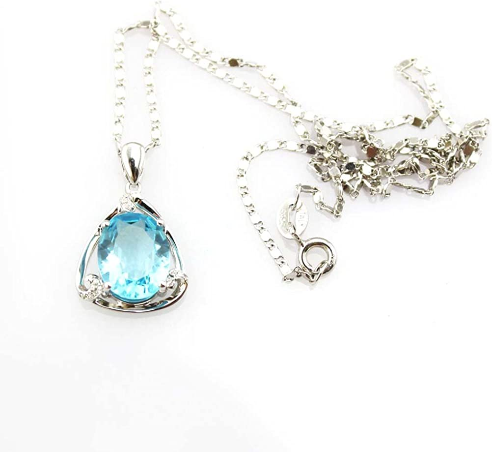 Jade Angel joyas 925 collar de plata óvalo azul Zircon cúbico Topacio colgante