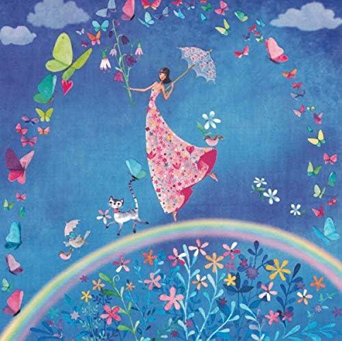 """""""Mila Marquis"""": Frau mit Schmetterlings-Regenbogen Größe: 14x14cm"""