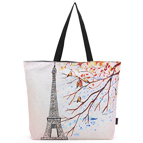 ICOLOR Eiffel Foldable Reusable Shopping Eco Bags case School Shopping Large Grocery bag Reusable Portable Storage HandBags Convenient Shoppers Tote (Eco Green Reusable Shopper)