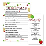Christmas Party Trivia Game | 25 Pack | Red, Green and Gold
