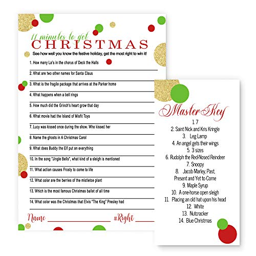 Christmas Party Trivia Game Set (25 Pack) Red and Gold