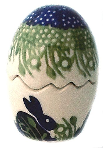 Polish Pottery Puzzle Egg Salt Pepper Shaker Bunny for sale  Delivered anywhere in USA