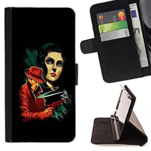 DEVIL CASE - FOR HTC One M9 - Vintage Mafia Gang Poster - Style PU Leather Case Wallet Flip Stand Flap Closure Cover