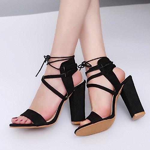 Toe Donna Sexy 43 Scarpe Cinturino Sandali 10 Alla Partito Da Eleganti Con Estive Blocco Open Tacco Caviglia Alto Nero Cm Peep Sposa p10rqPw1x