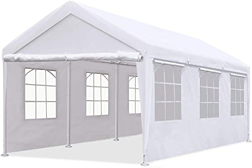 Quictent 10 x20 Heavy Duty Carport Gazebo Canopy Garage Car Shelter White