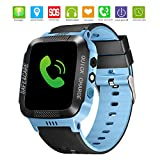 TOPCHANCES Kids Smartwatch Phone,Children's GPS Smart Watch with Camera Flashlight Android iOS Electronic Smartwatch for Gift 3-12 Year Old Boys Girls (Black+Blue)