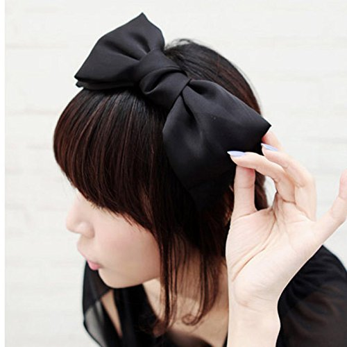 HuaYang|Sweet Korean Style Big Bowknot Hair Band Bow Headband(Black)