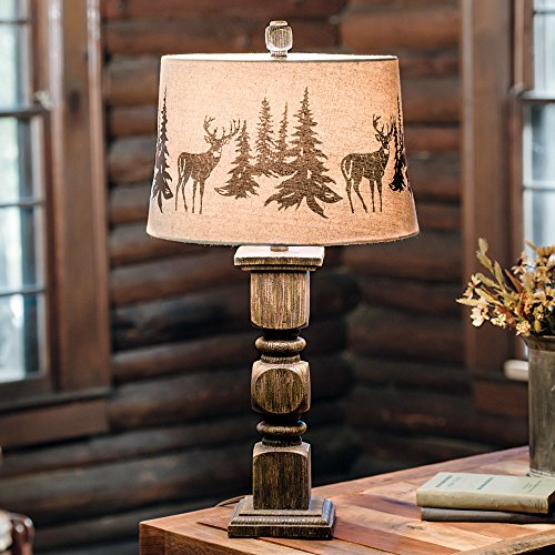 Deer Forest Cabin Table Lamp - Rustic Lighting Fixtures (Towel Cabin Bar)