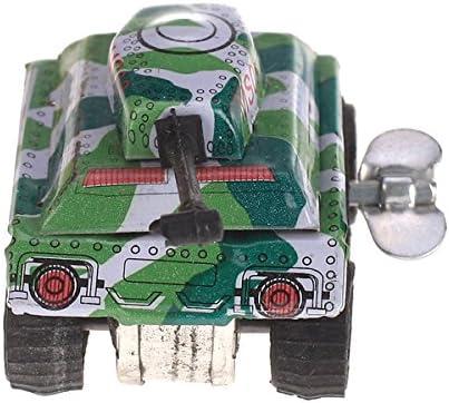2個入り ブリキ製 ミニ 戦車タンク ぜんまい玩具 児童 ギフト グリーン プレゼント