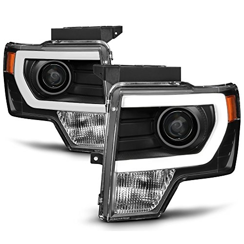 ACANII - For NEW Black 2009-2014 Ford F150 Raptor LED Tube DRL Projector Headlights Headlamps Driver + Passenger ()