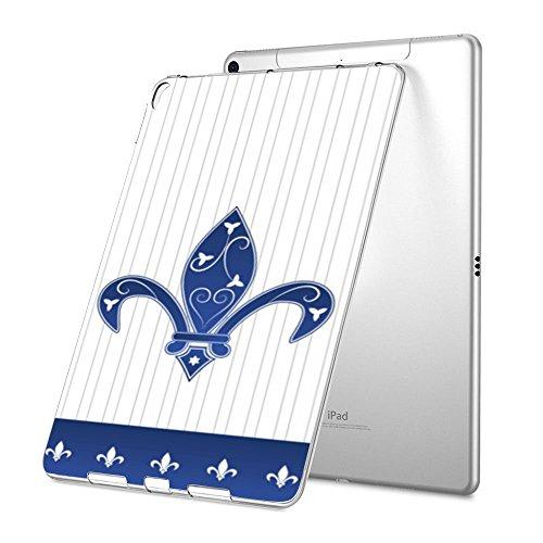 iPad Pro 12.9 Case, Premium Soft Skin Flexible Bumper Personalized Custom TPU Rubber Back Cover Protector Apple iPad Pro 12.9 inch - Pinstripe-Blue-Fleur
