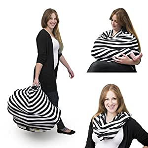 Luxury Cotton Nursing Breastfeeding Cover Scarf - Car Seat Canopy, Stroller And Shopping Cart Cover - Soft, Comfy And Stretchy For Boys And Girls - Every Mom's New Best Friend