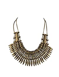 Lux Accessories Boho Burnished Gold Casted Metal Amor Spike Statement Necklace
