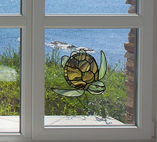 (Honu - Sea Turtle - Stained Glass Style - See-Through Vinyl Window Decal - Copyright Yadda-Yadda Design Co. (MED 4.5