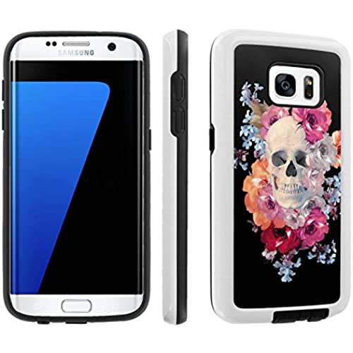 [Galaxy S7] [5.1 Screen] Armor Case [Skinguardz] [White/Black] Shock Absorbent Hybrid - [Flower skull] for Samsung Galaxy S7 / GS7 Sales