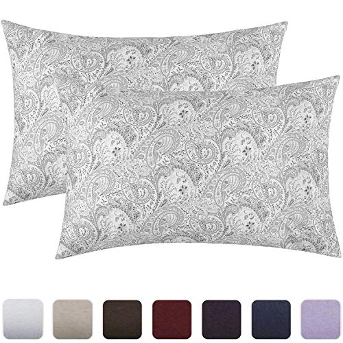 Mellanni Luxury Pillowcase Set - Brushed Microfiber 1800 Bedding - Wrinkle, Fade, Stain Resistant - Hypoallergenic (Set of 2 Standard Size, Paisley Gray)