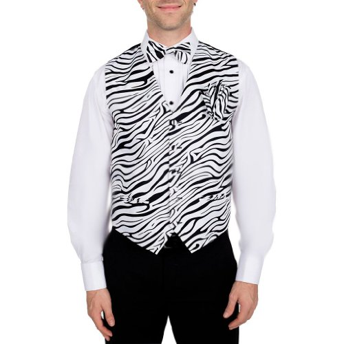 Men's Black - White Zebra Print Vest Bow Tie and Hanky Set