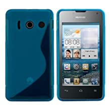kwmobile TPU SILICONE CASE for Huawei Ascend Y300 Design S Line blue transparent - Stylish designer case made of premium soft TPU