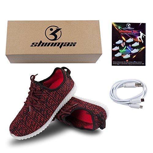 Unisex Colori 7 Lampeggiante Certificato Natale 8 Scarpe Giorno con Shinmax Il USB del Rosso Partito Promenade del di Regalo LED Tennis Scarpe Luci Carica per di CE da con xY6BBqXI0