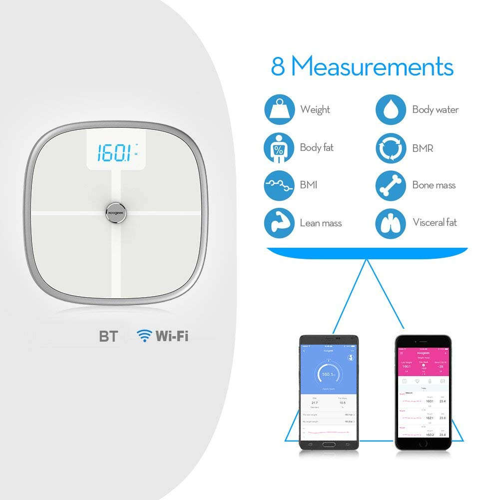 Koogeek Bluetooth WiFi Body Fat Scale with IOS and Android App Wireless Bathroom Scale for Body weight, Body Fat, Water, Muscle Mass, BMI, BMR, Bone Mass and Visceral Fat, White by Koogeek
