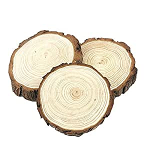 """3pcs 4.7""""- 5.5"""" Natural Unfinished Wood Slices with Bark for DIY Handmade Wedding Craft Ornaments by MAIYUAN"""