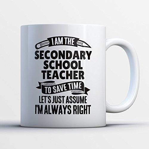 Secondary School Teacher Coffee Mug – I Am The Secondary School Teacher - Funny 11 oz White Ceramic Tea Cup - Humorous and Cute Secondary School Teacher Gifts with Secondary (Preschool Bulletin Boards For Halloween)