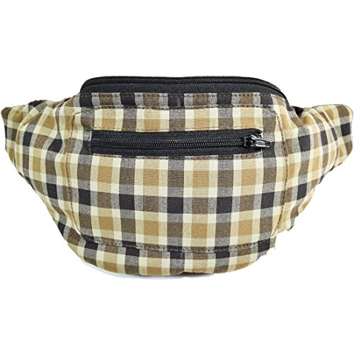 Highlander's Stylish Fanny Pack, British Plaid Boho Chic Handmade with Hidden Pocket (Baeberry) by Santa Playa