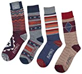 Buffalo David Bitton Men's Graphic Crew Socks 4 Pk-Burg/Blu/Org-10-13