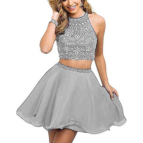 Link Ball Screw (HEAR Women's Two Piece Prom Homecoming Dresses Chiffon Short Rhinestone Beaded Mini Dress WWW666 Silver)