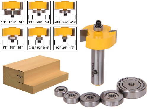 Yonico 14705 Rabbet Router Bit with 6 Bearings Set 1/2-Inch Shank ()