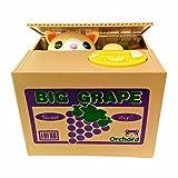 Mischief Saving Box Stealing Coin Piggy Bank, Yellow Kitty Cat Big Grape