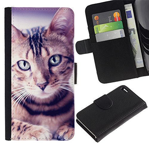 LASTONE PHONE CASE / Luxe Cuir Portefeuille Housse Fente pour Carte Coque Flip Étui de Protection pour Apple Iphone 4 / 4S / Egyptian Mau Manx Ocicat Portrait Cat