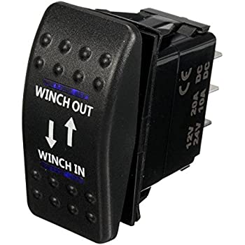 esupport car auto 12v momentary light button rocker toggle switch blue led  winch in out on-off-on 7pin spdt