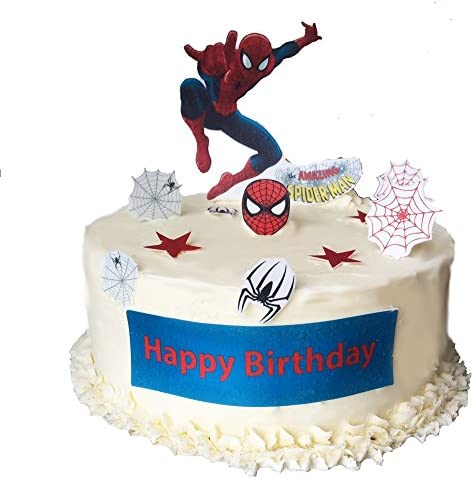 Brilliant Stand Up Spiderman Happy Birthday Scene Premium Edible Wafer Paper Funny Birthday Cards Online Fluifree Goldxyz