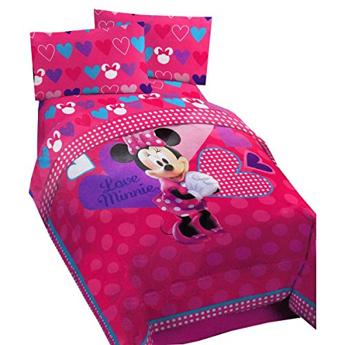 Disney Minnie Exploded Hearts Reversible Comforter (Minnie Comforter Set)