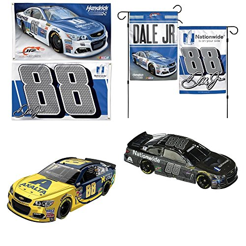 Dale Earnhardt Jr NASCAR 4-Piece Family Bundle (2017 Flags) – 4 items: 2-Sided 3x5 Flag, 2-sided 12