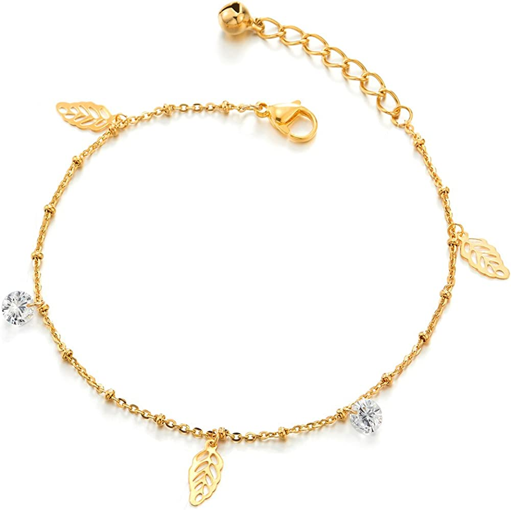 COOLSTEELANDBEYOND Tow-Row Stainless Steel Anklet Bracelet with Dangling Cubic Zirconia