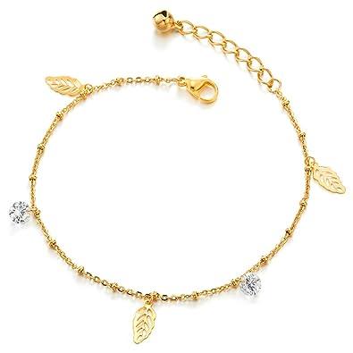 COOLSTEELANDBEYOND Acero Inoxidable Oro Tobillera para Mujer ...