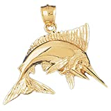 14K Yellow Gold Marlin Pendant Necklace - 37 mm