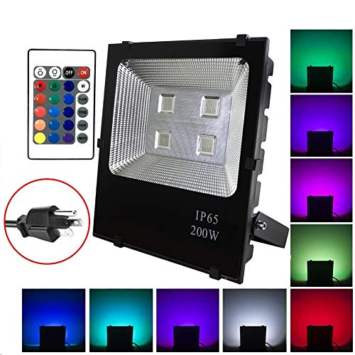 (ASIGN 200W RGB LED Flood Lights, Waterproof Outdoor Color Changing LED Security Light with Remote Control, Dimmable Wall Washer Lights with US 3-Plug)