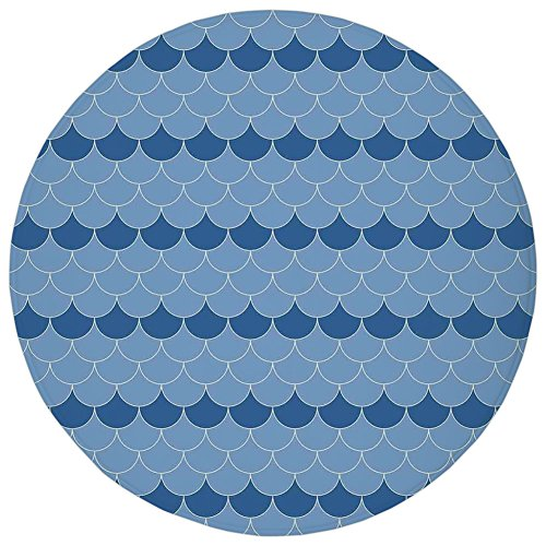 Classic Scallop Circle - Round Rug Mat Carpet,Navy Blue Decor,Cute Scallop Patterns Circles with Pastel Colors Oval Fish Wave Illustration Decor Home,Blue,Flannel Microfiber Non-slip Soft Absorbent,for Kitchen Floor Bathroom