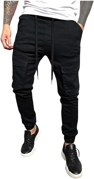 Pantalones para Hombre Pantalones Largos Cargo Casuales Chino ...