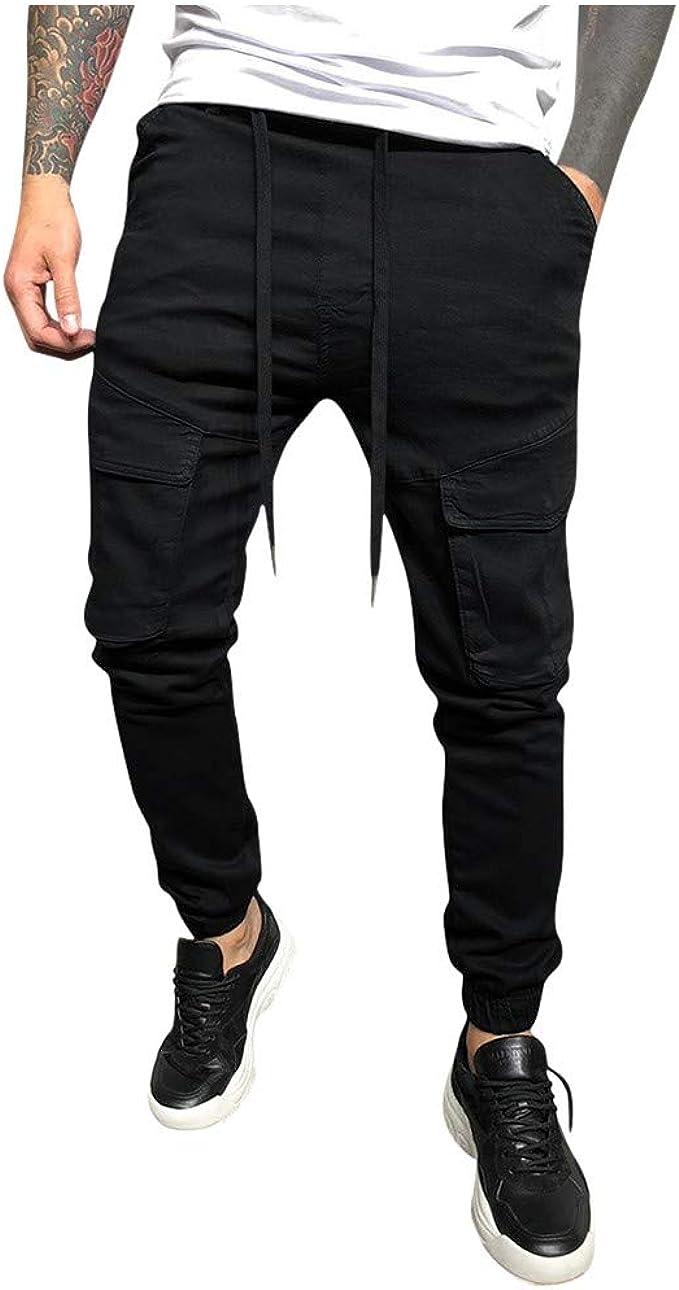 Vectry Pantalones Hombre Casual Letra Suelta Cordón Sólido Cintura ...