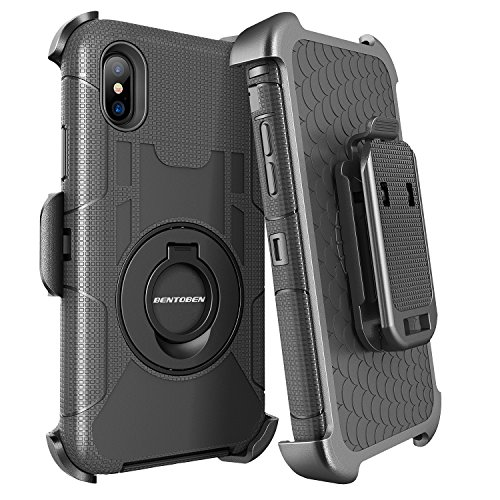 BENTOBEN iPhone XS Case(2018), iPhone X Holster Case Belt Clip Kickstand Case (2017) [Support Wireless Charging] Heavy Duty Shockproof Hybrid Full Body Protective Phone Cases for iPhone XS/X/10, Black