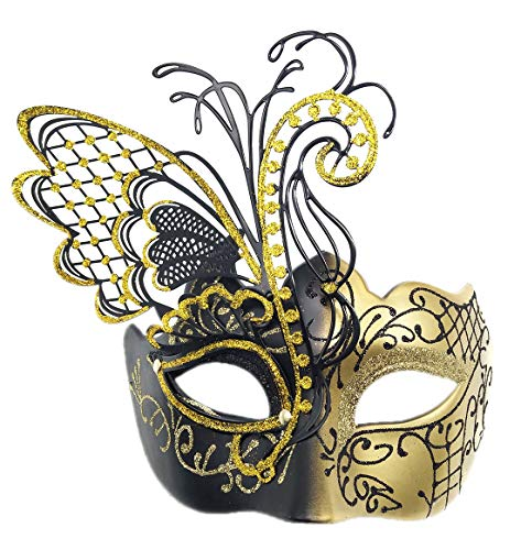 Coolwife Masquerade Masks Women Flying Butterfly Metal Venetian Party Evening Prom Mask (Black-Gold) ()