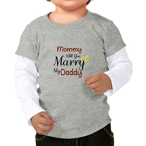 Cute Rascals Mommy Will You Marry My Daddy 100% Cotton Long Sleeve Tapped Neck Unisex Toddler Top Tee 2-fer - Heather Gray White, 24 Months