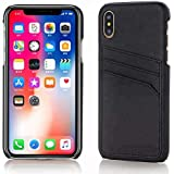 Starred Wallet Case for iPhone XR Slim PU Leather Case with Card Holder Slots, Cover (Black)