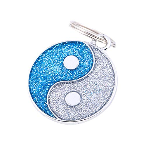 Cute Pet ID Tag,Bling Crystal Tai Chi Pattern Printed Adorable Collar Name Tags for Pet Dogs,Cats (Blue)