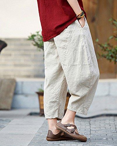 gamba Aeneontrue larga Pantaloni gamba cotone patchwork elastica beige lanterna con in vita a dqOCw